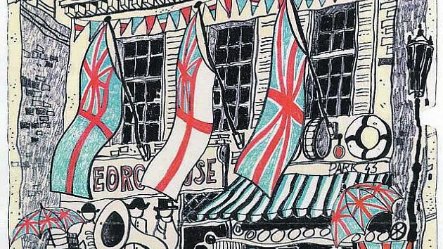 Jedna z grafik, které Zdeňka Šindlara usvědčují z obdivu a lásky k Londýnu i detailní znalosti jeh typické architektury.