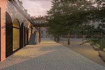 Místo parkování má v budoucnu sloužit parter Gayerových kasáren jako místo setkávání.