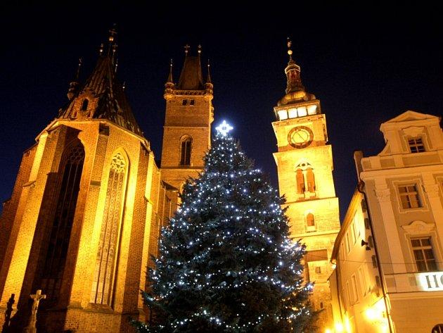 Rozsvícený vánoční strom na hradeckém Velkém náměstí.