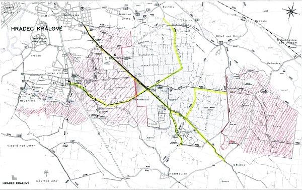 Plánek - relativně bezpečné cesty a relativně bezpečná území vměstských lesích.