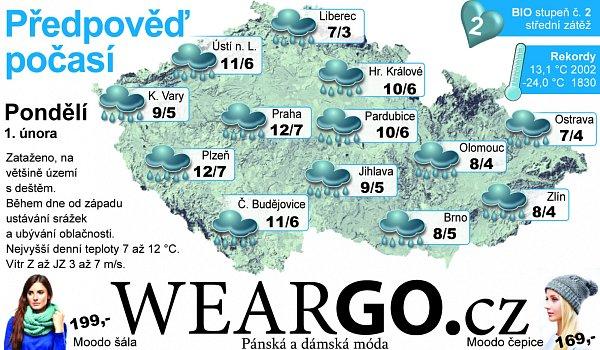 Předpověď počasí na pondělí 1.února.