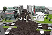 Vizualizace plánované stavby.