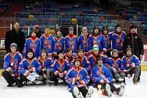 Hokejový výběr mládeže Královéhradeckého kraje při vánočním turnaji O pohár Martina Hostáka.
