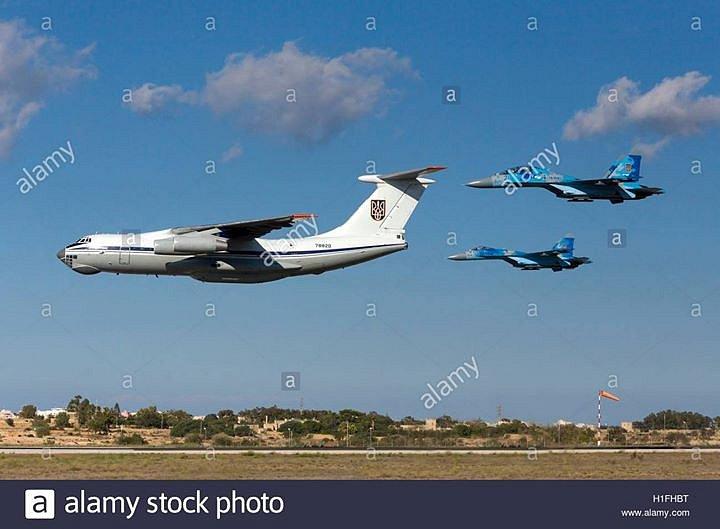 Přílet IL-76 / Su24 / Su27 Ukrainian Air Force na CIAF 2017