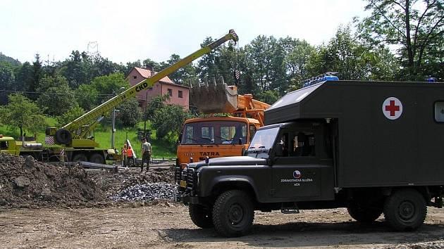 Pomoc při záplavách na Moravě.