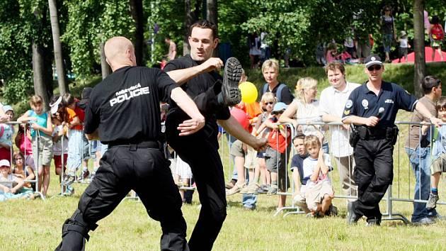 Policisté simulovali při dětském dni zápas boje muže proti muži