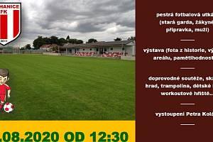 Pozvánka na slavnostní otevření nového fotbalového hřiště a sportovního areálu v Nechanicích.