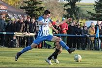 Chlumecká opora Tomáš Labík během nezapomenutelného pohárového zápasu s Plzní.