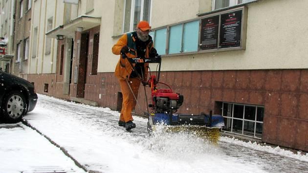 Zimní podmínky v Hradci Králové.