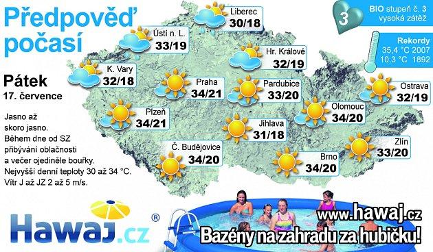Předpověď počasí na pátek 17.července.