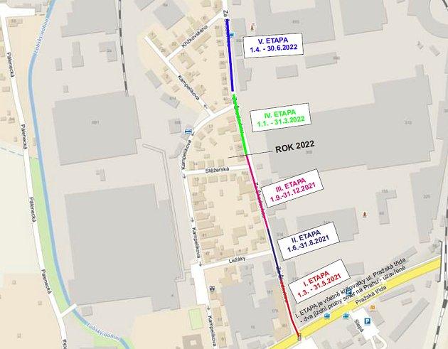 Plán uzavírek vulici Za Škodovkou během více než rok dlouhé rekonstrukce kanalizace. Foto:
