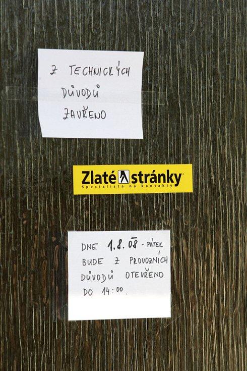 Ve čtvrtek 31. července byla vyloupena pošta ve Vysoké nad Labem