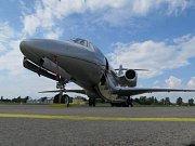 Cessna Citation X na hradeckém letišti.