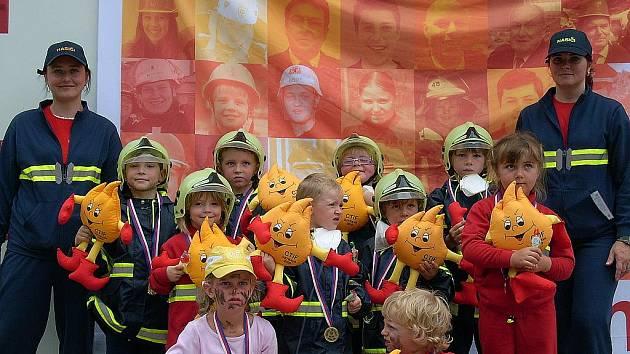 Malí hasiči ze Sovětic na závodech v Ostravě.