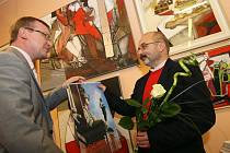 Vernisáž akademického malíře Milana Chabery v hradecké Galerii Koruna.