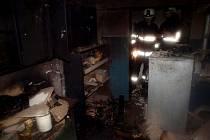 Požár v kotelně rodinného domu v hradecké ulici Na Jezírkách.
