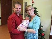 ELIŠKA ŠVECOVÁ se narodila 13. prosince ve 12.11. hodin. Velkou radost udělala rodičům Haně Zimové a Martinu Švecovi ze Srnojed. Doma se těší sourozenci Markéta, Josef a Kryštof.