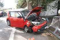 Havárie osobního automobilu ve Stračově-Klenici.