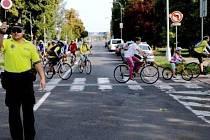 Cyklistická projížďka městem v Hradci Králové.