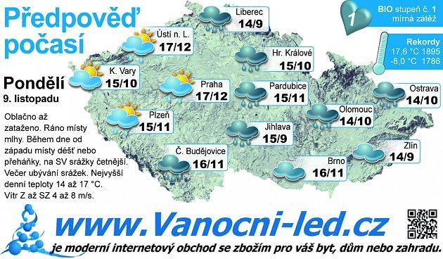 Předpověď počasí na pondělí 9.listopadu.