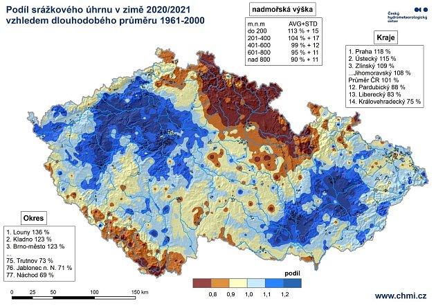 Celkové množství srážek vuplynulé zimě vporovnání sdlouhodobým průměrem