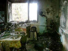 Požár rodinného domu v Zachrašťanech.