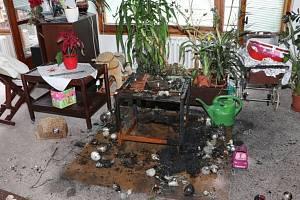 Požár bytu od vánočního stromku v hradeckých Malšovicích.