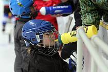 Děti na bruslích se učí hokejovým základům.