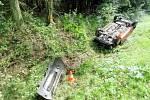 Havárie automobilu u Ledců.