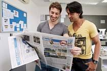Pětadvacetiletý Brazilec Cesar Augusto Curti v krajské redakci Deníku v Hradci Králové.
