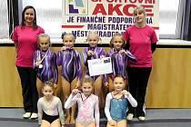 Mladé sportovní gymnastky TJ Sokol Hradec Králové.