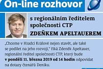On-line se Zdeňkem Apeltauerem, regionálním ředitelem společnosti CTP.