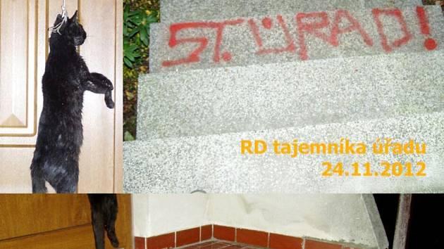 Vandalské činy v Třebechovicích pod Orebem.