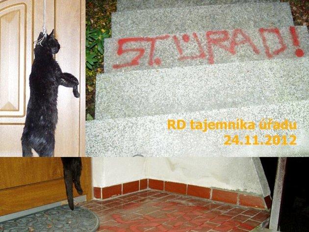 Vandalské činy vTřebechovicích pod Orebem.