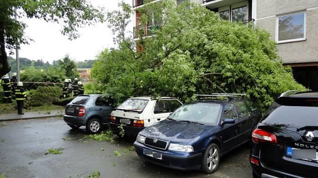 Pád stromu v ulici Sekaninova v Hradci Králové.