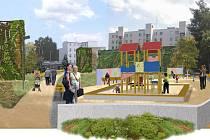 Vizualizace budoucího parku mezi Dukelskou třídou a Hořickou ulicí v Hradci Králové (jižní hrana).