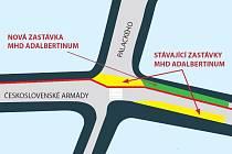 Městem preferovaná varianta 5B. Červená linka značí cyklopruhy.