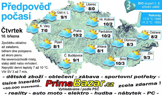 Předpověď počasí na čtvrtek 10.března.