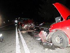 Dopravní nehoda čtyř osobních vozidel u obce Sadová.