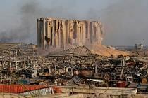 Téměř zničené silo v Bejrútu