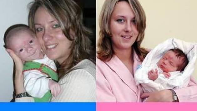 Maminka Petra Petráčková s oběma dětmi, dvojčaty