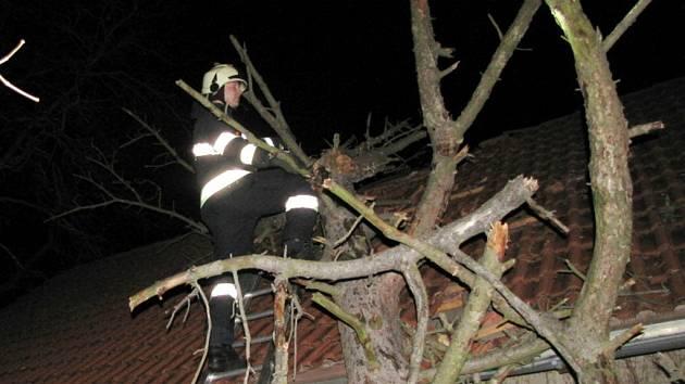 Hasiči při odstraňování stromu spadlého na dům v ulici Zámeček v Hradci Králové.