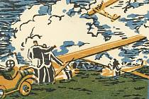 Druhá pohlednice vydaná Bohumilem Liznerem (linoryt).