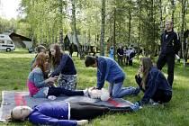 Postupová soutěž mladých zdravotníků v areálu na Stříbrném rybníku v Hradci Králové.