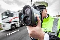 Puškový radar na měření rychlosti Policie ČR v Královéhradeckém kraji.