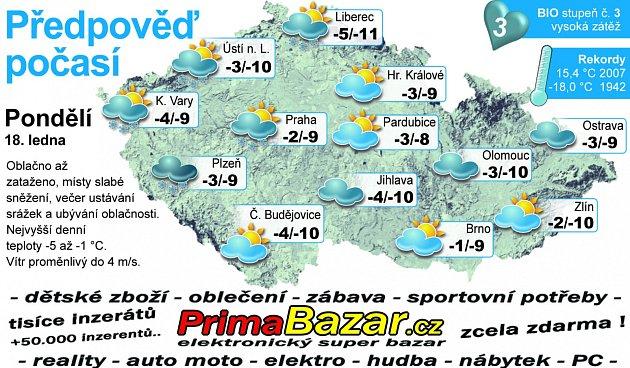 Předpověď počasí na pondělí 18.ledna.