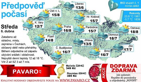 Předpověď počasí na středu 6.dubna.