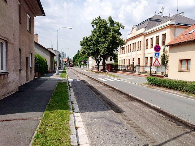 Uzavírka Úprkovy ulice vHradci Králové.