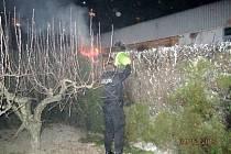 Požár živého plotu v zahradě rodinného domu.