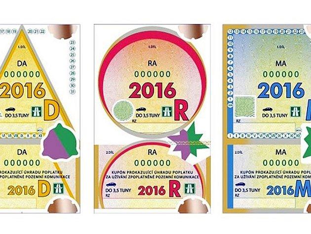 Dálniční známky pro rok 2016.